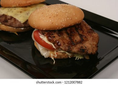 hamburger on black dish