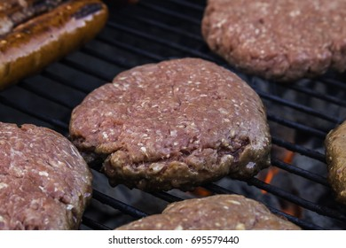 Hamburger on a grill.