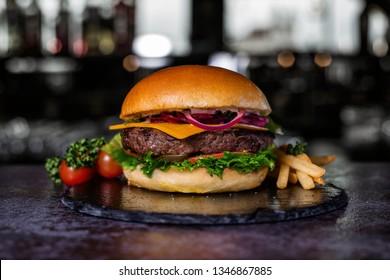 Hamburger on the plate