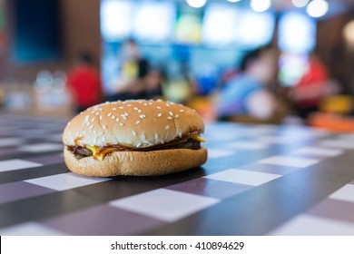 Hamburger on table in Fastfood shop