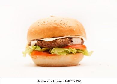 hamburger on the white