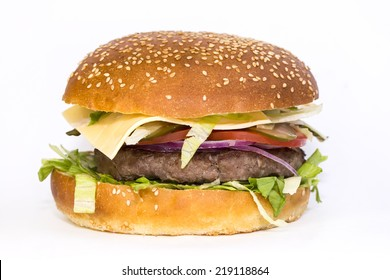 hamburger on a white background in the restaurant