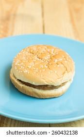 hamburger on wood background