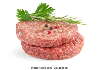 hamburger patties and aromatic herb isolated on white background
