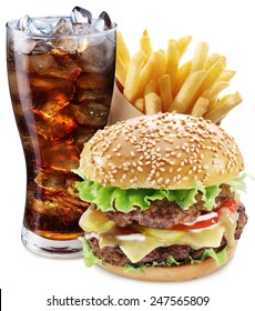 Hamburger, potato fries, cola drink on a white background. Takeaway food. Fast food. File contains clipping paths.