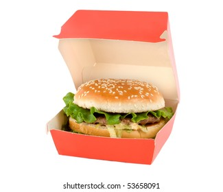 Hamburger In Red Box Isolated On White Background