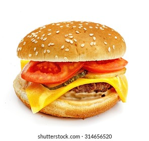 hamburger, sandwich, burger with cheese, cucumber, tomato, meat patties and buns with sesame seeds on a white background