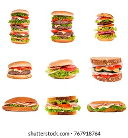 Hamburger and sandwich isolated on white background
