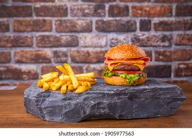 hamburger snack on wooden background bacon cheese burger beef turkish büfe burger fast food
