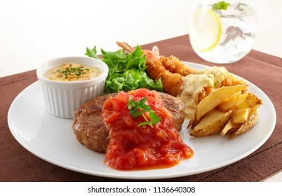 Hamburger steak and fried prawn plate for lunch