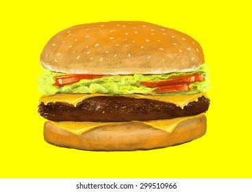 hamburger,digital painting illustration