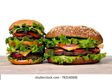 Hamburgers for a hearty dinner on a white background. Double sandwich.