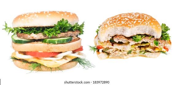 hamburgers isolated on white background.