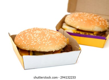 hamburgers in paper box isolated on white
