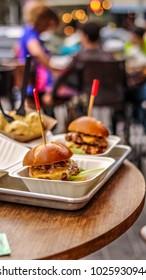 Hamburgers in street restaurant