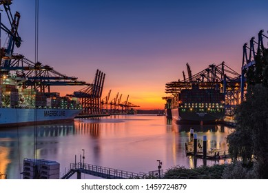 Hamburg/Germany - 07 23 2019 Port of Hamburg Waltershof at sunset