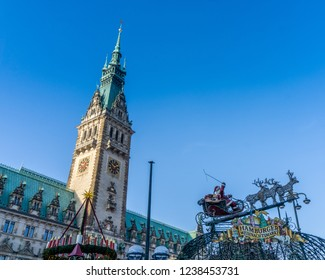 Hamburg,Germany -17.November,2018:Hamburg in the festive season (advents time) View to the town hall on the christmas market