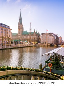 Hamburg,Germany -17.November,2018:Hamburg in the festive season (advents time). View from the alster arcades to the town hall