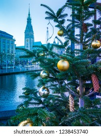 Hamburg,Germany -17.November,2018:Hamburg in the festive season (advents time). View from the alster arcades to the town hall in a blue mood