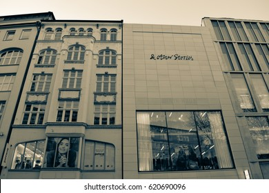 HAMBURG/GERMANY - APRIL 4 2017: Streets and buildings of Hamburg - the second largest city in Germany. Free and Hanseatic City. Europe. Old style photo. Black and White color