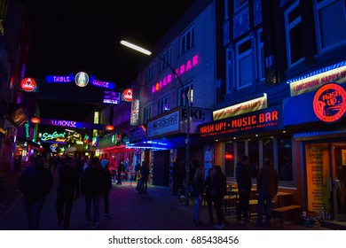 HAMBURG/GERMANY - APRIL 5 2017: Reeperbahn. Streets and buildings of Hamburg at night. The second largest city in Germany. Free and Hanseatic City. Europe