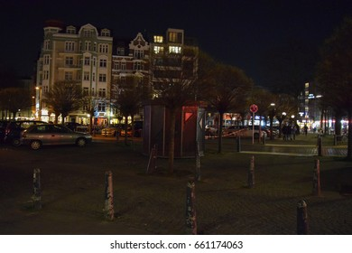 HAMBURG/GERMANY - APRIL 5 2017: Streets and buildings of Hamburg at night. The second largest city in Germany. Free and Hanseatic City. Northern Europe