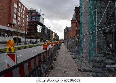 HAMBURG/GERMANY - APRIL 5 2017: Streets and buildings of Hamburg - the second largest city in Germany. Free and Hanseatic City. Europe