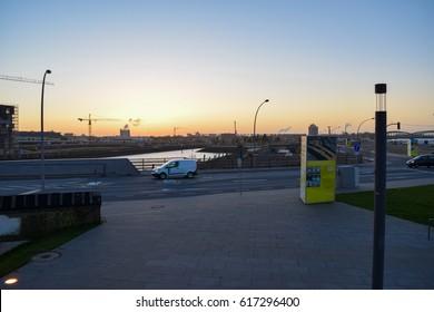HAMBURG/GERMANY - APRIL 6 2017: HafenCity under construction. Quarter in the district of Hamburg-Mitte. Grasbrook island. Elbe river. Europe