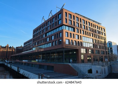 HAMBURG/GERMANY - APRIL 6 2017: HafenCity. Quarter in the district of Hamburg-Mitte. Grasbrook island. Elbe river. Europe