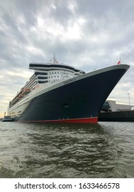 Hamburg,Germany - August 17,2018: Luxury  transatlantic ocean liner at the dock in Hamburg. Queen Mary 2 is the only passenger ship operating as an ocean liner, as opposed to a cruise ship.