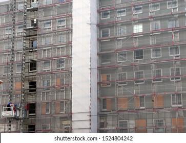 "Hamburg/Germany - August 6, 2019: Demolition of the ""City Hof"" post-war apartment complexes"