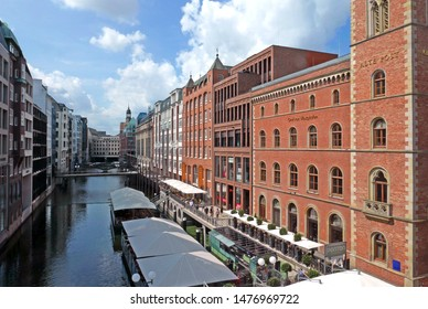 Hamburg/Germany - August 8, 2019: View over the Alsterfleet canal on a sunny summer day