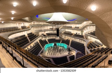 Hamburg/Germany - March 18, 2019: Big concert hall interior of the Elbphilharmonie, the city's famous philharmonic hall built on the banks of the Elbe river it is renown for its unique acoustic
