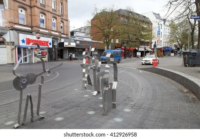 HAMBURG,GERMANY-APRIL 19,2016: Beatles Square (Beatles-Platz) at the corner of Reeperbahn and Gross Freiheit representing The Beatles at times during their Hamburg engagements.