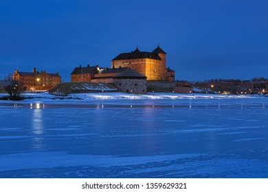 HAMEENLINNA, FINLAND - MARCH 4, 2019: Hame Castle or Tavastia Castle in winter dusk. The castle was constructed in the 13th century.