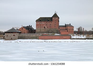 HAMEENLINNA, FINLAND - MARCH 4, 2019: Hame Castle or Tavastia Castle in winter overcast day. The castle was constructed in the 13th century.