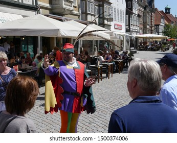 Hameln - Germany – June 5. 2015: City tour with the Pied Piper.