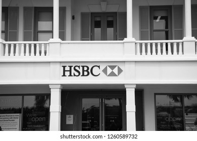 Hamilton, Bermuda - March, 20, 2016: HSBC bank building. Office entrance into HSBC bank. HSBC bank business and finance. Architecture and structure of HSBC bank