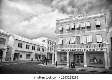 Hamilton, Bermuda - March, 20, 2016: architecture and street turning. Houses architecture on city street on cloudy sky. Urban streetscape architecture . Architecture and structure. Where is it.