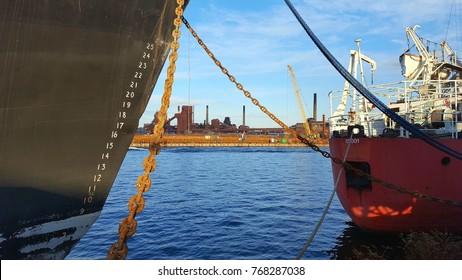 HAMILTON, CANADA - DECEMBER 1, 2017: Industrial establishments on the shores of the Hamilton harbor.