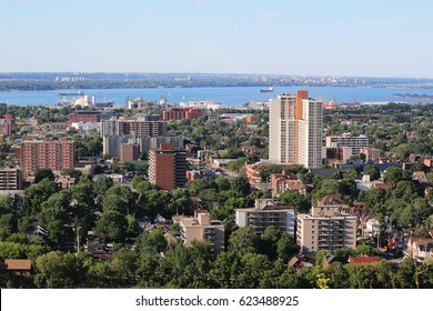HAMILTON, CANADA - JUNE 18, 2016: Aerial view of downtown Hamilton with Lake Ontario in the background. Hamilton is a port city in the Canadian province of Ontario.