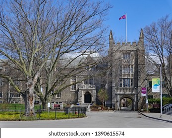 HAMILTON, CANADA - MAY 2019: The older buildings at McMaster University display a traditional collegiate gothic style of architecture.