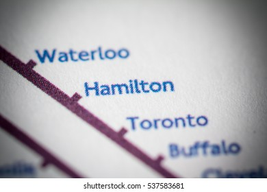 Hamilton, Canada on a geographical map.