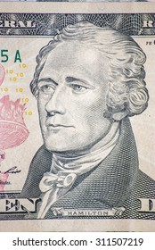 hamilton dollar face close-up