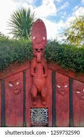 Hamilton, New Zealand - May 14, 2017: Maori carving on Hamilton Gardens, New Zealand