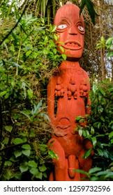 Hamilton, New Zealand - May 14,2017: Maori carving on Hamilton Gardens, New Zealand