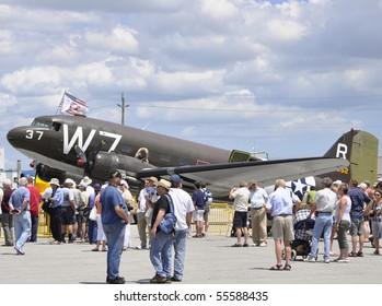 HAMILTON, ON - JUNE 20: Crowd looks at a Douglas C-47A Dakota on display at the Canadian Warplane Heritage Museum's Flyfest 2010;  June 20, 2010 in Hamilton, Ontario