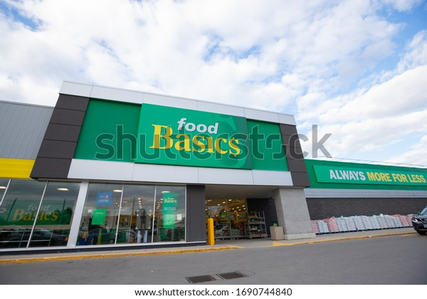 Hamilton, Ontario / Canada - April 2020: Food Basics grocery store. Food Basics Ltd is a Canadian super chain owned by Metro Inc.
