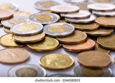 Hamilton, Ontario / Canada - March 10, 2018: Canadian one dollar and two dollar circulation coins