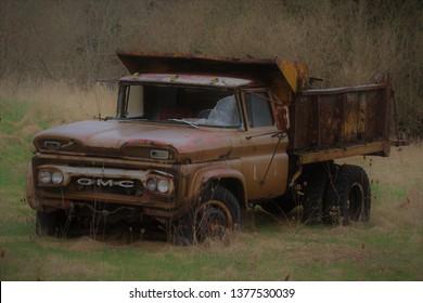 Hamilton, Ontario Canada - Oct 13, 2018: Abandoned old GMC pickup truck.